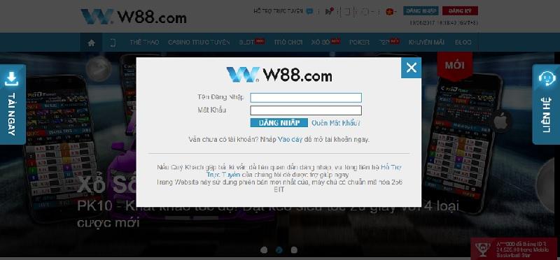 Hướng dẫn đăng nhập W88 1